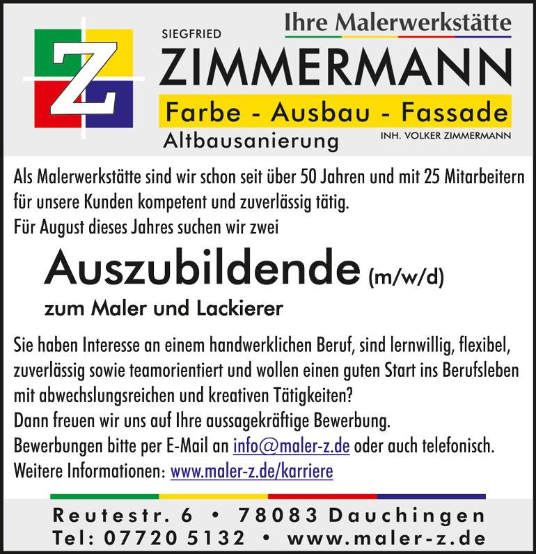 Stellenanzeige Malerwerkstätte Zimmermann, Dauchingen - Azubi gesucht