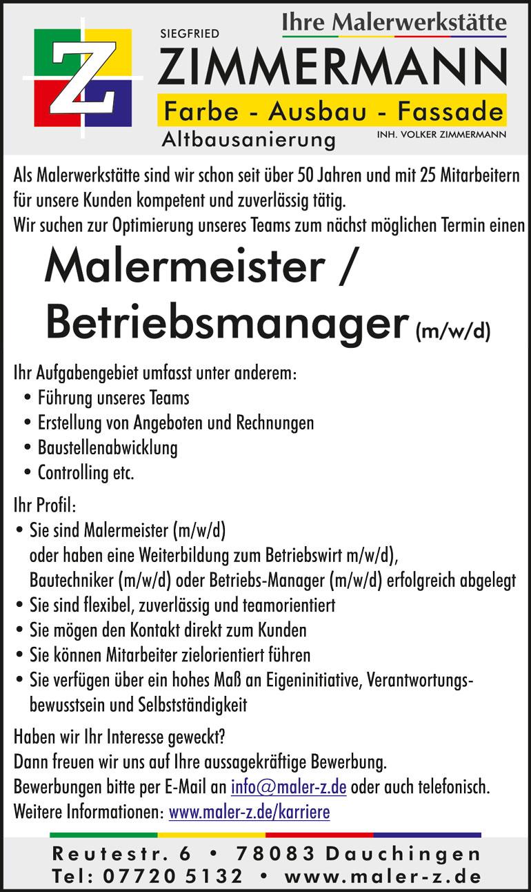 Stellenanzeige Malermeister / Betriebsmanager gesucht - Malerwerkstätte Zimmermann, Dauchingen