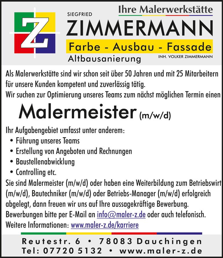 Stellenanzeige Malermeister gesucht - Malerwerkstätte Zimmermann, Dauchingen